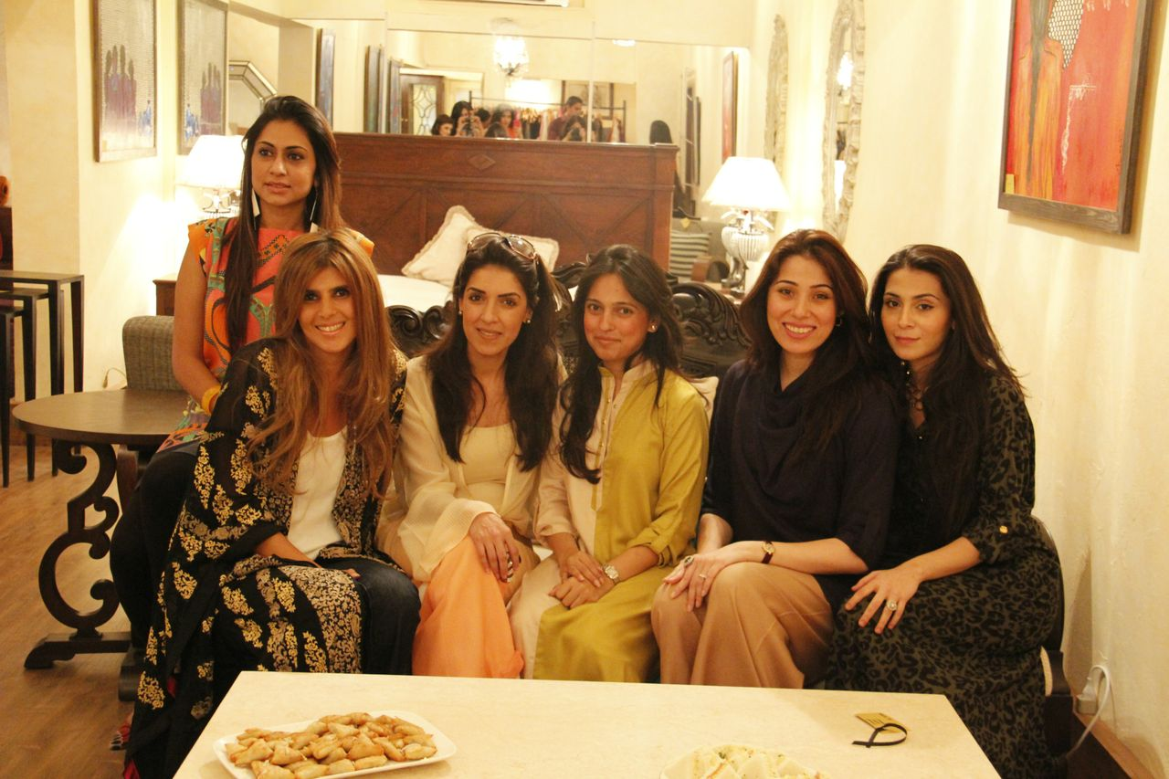 The designers, Wardah Saleem, Ayesha F Hashwani, Maheen Karim, Nida Azwer, Sanam Chaudhri and Feeha Jamshed ( missing Sania Maskatiya)