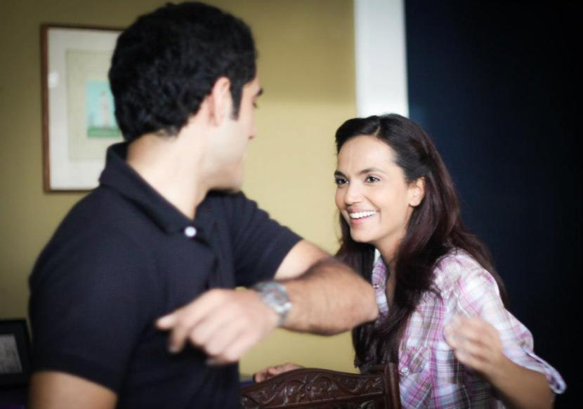 Adeel and Aamina on set