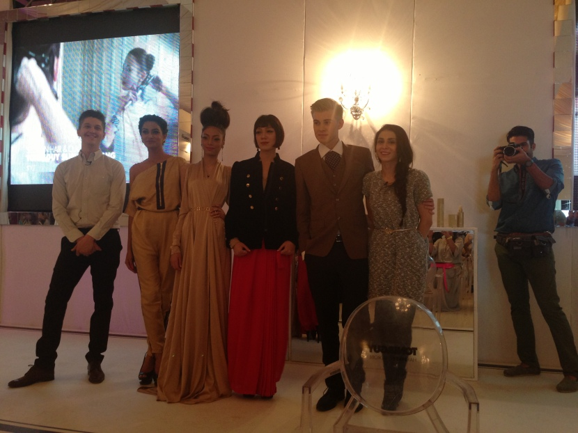 Mark Hampton and Feeha Jamshed with the models