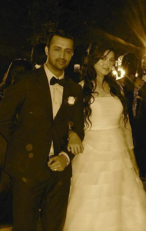 Atif Aslam and Sara Bharwana ( who chose to wear a white wedding gown)