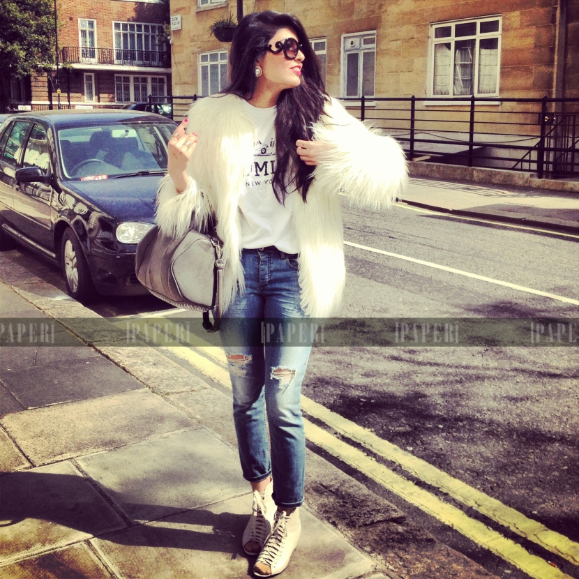 Zara coat, Prada sunnies, Topshop boyfriend jeans, Homies Tee, Alexander Wang bag and Urban Outfitters shoes