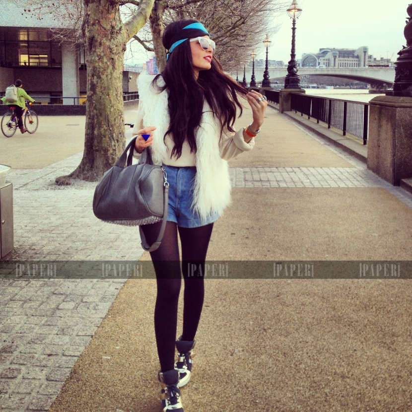 H&M gilet, American Apparel shorts, Alexander Wang bag, Hermes enamel bracelet, Urban Outfitters shiny hightops and HMxVersace scarf worn as a headband