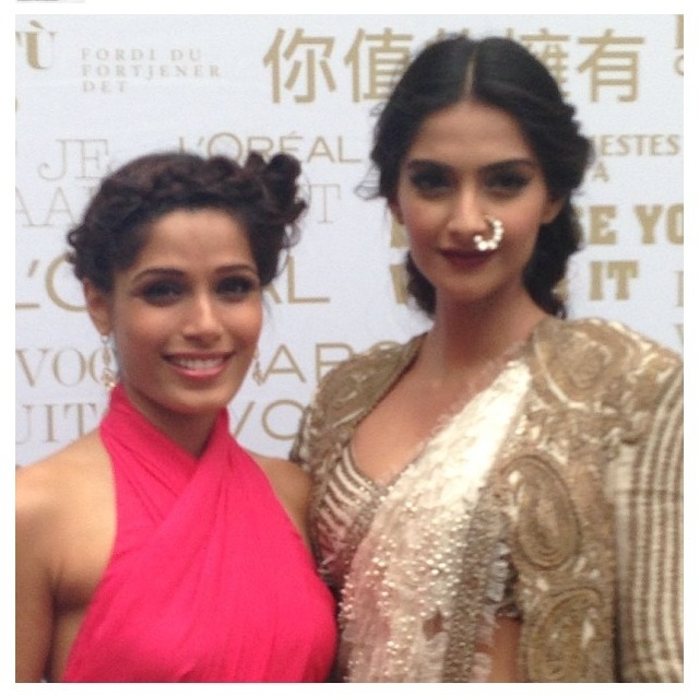 Frieda Pinto and Sonam Kapoor - The Loreal girls